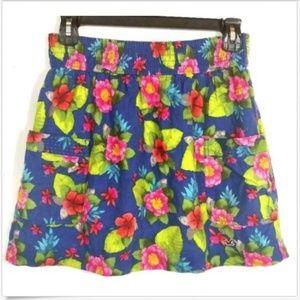 Blue Floral Stretch Waist A-line Skirt w Pockets